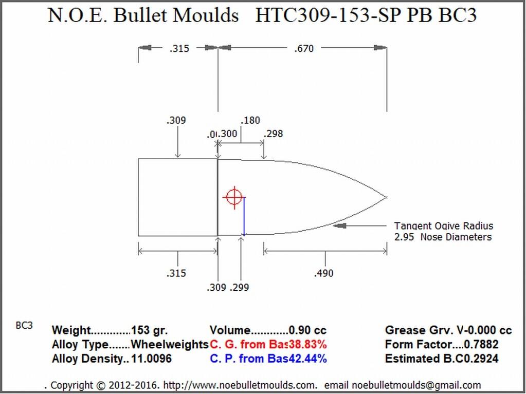 Moule pour ogives 7.5 swiss HTC309-153-SP_PB_BC3_Sketch